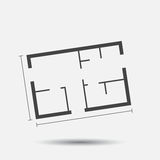 House plan simple flat icon. Royalty Free Stock Image