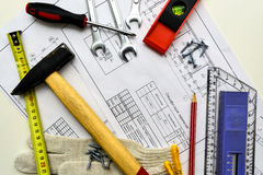 House plan, tools, pencil with a ruler, a building draft Stock Photography