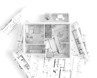 House plan top view - interior design Stock Images