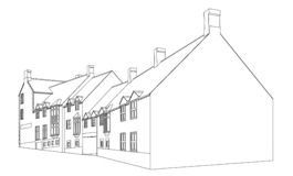 House plan view 2. Architects view in black and white of a building development