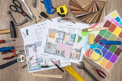 House plan with working tools. Office work stock photos