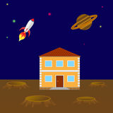 House on the planet Stock Photography
