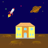 House on the planet Royalty Free Stock Image