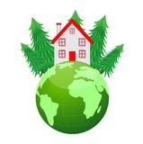 House and planet earth on a white background Stock Photography