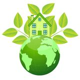 House and planet earth on a white background Stock Photos