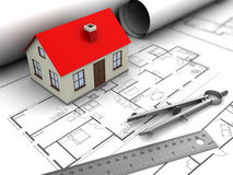 House planning. 3d illustration of house model and blueprints Stock Image
