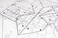 House plans. Photo of blue prints home Plans Royalty Free Stock Images