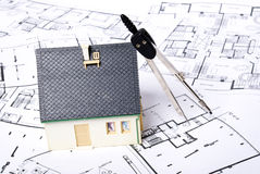 House on plans. With some tool royalty free stock image