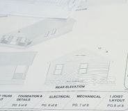 House Plans. Section of house blue prints showing the exterior of the finished house Stock Photo