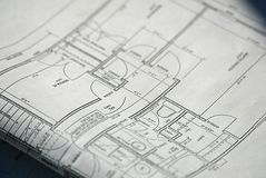 House Plans. Folded Blueprints Royalty Free Stock Image