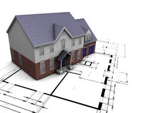 House on plans. 3D render of a house on plans Royalty Free Stock Images