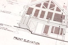 House Plans Blueprints Front. Front elevation plans of a new residential home Royalty Free Stock Photography