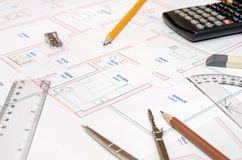 House plans with  pencil  ruler, compass Stock Photography