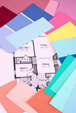 House Plans & Colours. Drawn house plans and colour samples Stock Images