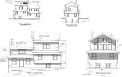 House plans elevation view. This is a jpg of a  (AI) file which shows the elevation views of a house I designed but never build Stock Photography