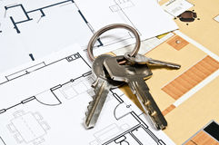 House plans and key Royalty Free Stock Images