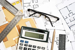 House plans and tools Royalty Free Stock Photography