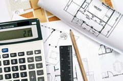 House plans and tools Stock Photo