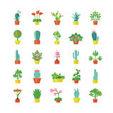 House Plants Flat Icons Set Stock Photos