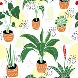 House Plants in pots seamless pattern royalty free illustration