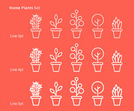 House plants white linear vector illustration Stock Photos