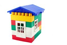 House from plastic blocks. Isolated on white Royalty Free Stock Photo