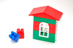 Construction from blocks for children. House from  plastic blocks for children Royalty Free Stock Photos