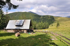 House on the plateau in the Carpathian Mountains Royalty Free Stock Image