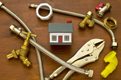 House, plumbing parts & tools. House, plumbing parts & plumbing tools Stock Images