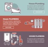 House plumbing and plumber fixture vector web banners templates. House plumbing and plumber fixture web banners templates. Vector bathroom and heating system Royalty Free Stock Photos
