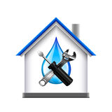 House and plumbing service tools icon isolated on white background Royalty Free Stock Photos