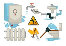 House plumbing plumber repair tools and water sewerage leakage fixture vector flat icons. House plumbing and sewerage water leakage fixture and plumber work Royalty Free Stock Photography