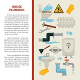 House plumbing vector information poster or infographics template for bathroom and kitchen sewerage repair. House plumbing information poster for kitchen or Royalty Free Stock Image