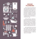 House plumbing vector poster or infographics template for bathroom and kitchen Royalty Free Stock Photo