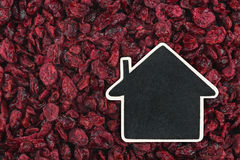 House pointer, the price tag lies on  dried cranberry Stock Photo