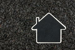 House pointer, the price tag lies on sunflower  seed Royalty Free Stock Image