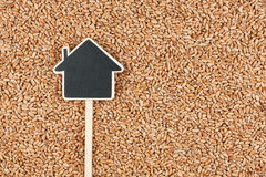 House pointer, the price tag lies on wheat Royalty Free Stock Image
