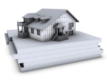 House with polystyrene. On top of polystyrene blocks Stock Photo