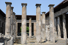 House in pompeii. House with columns in pompeii Stock Photos