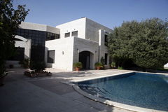 House with a pool and trees. Picture of a house with a pool and trees Stock Photography