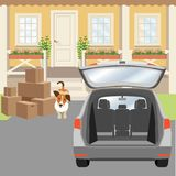 Country house porch with panel door and windows. Driveway, cardboard boxes and car with opened trunk. Stock Images