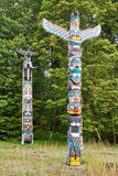 House Posts Totem Poles Stock Photo