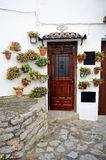 House with pots, Grazalema, White Towns, Cadiz province, Spain Royalty Free Stock Photos
