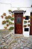 House with pots, Grazalema, White Towns, Cadiz province, Spain Royalty Free Stock Photos