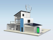 House powered by solar power and wind power Stock Image