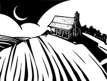 House on Prairie. Woodcut style image of a log cabin house on a prairie Stock Photography