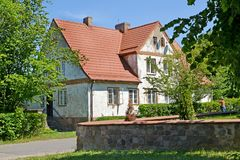 House of pre-war construction with a tile roof. Settlement Amber, Kaliningrad region.  Royalty Free Stock Image