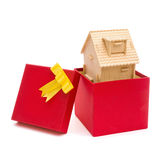 House in a present box. With clipping path Royalty Free Stock Photo