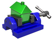 House price squeeze. Isolated illustration of a house being squeezed in a vice Royalty Free Stock Image