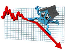 House prices down. Isolated illustration of a house surfing downwards on a declining graph stock illustration